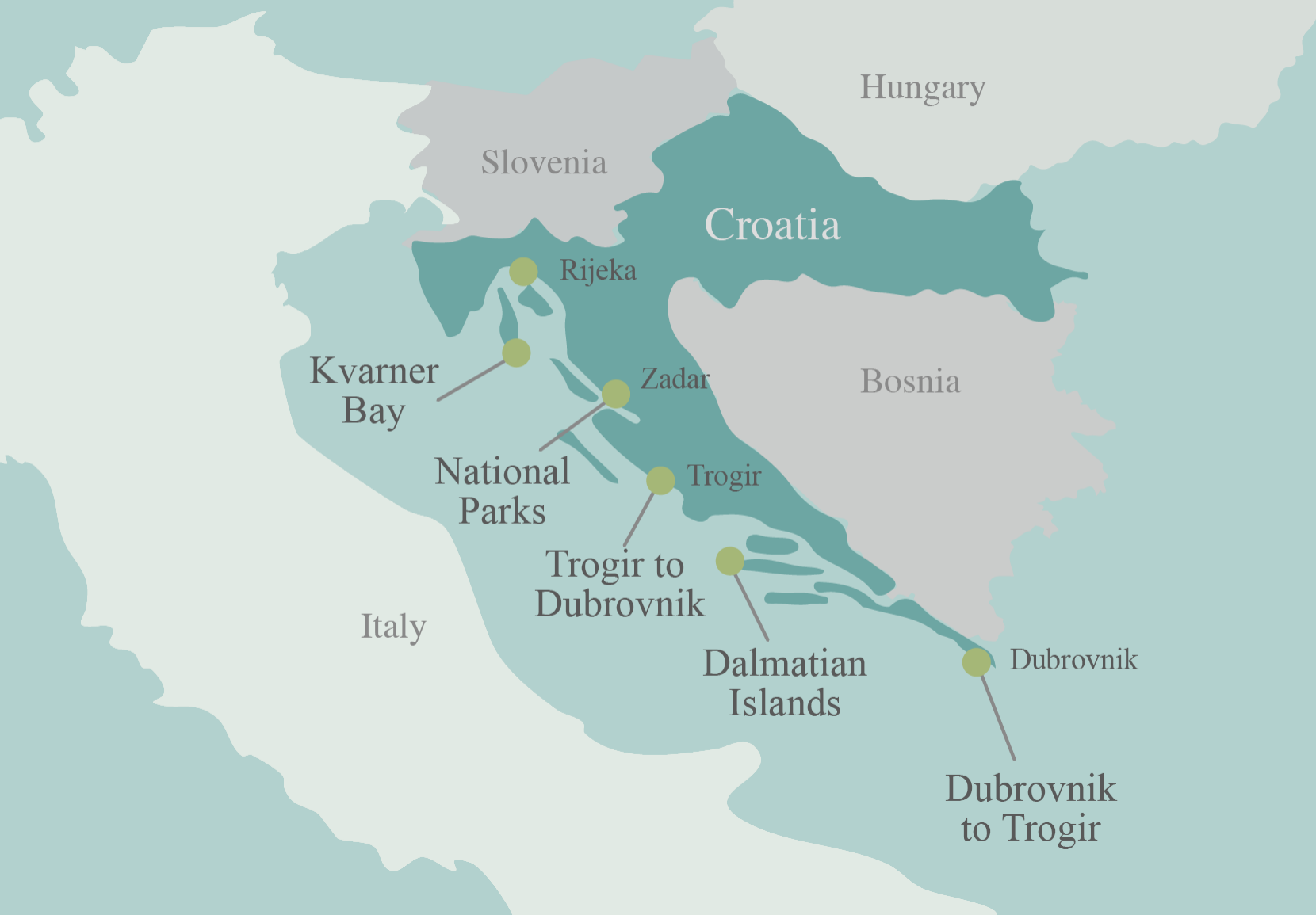 Map of Croatia Bike Tour Points