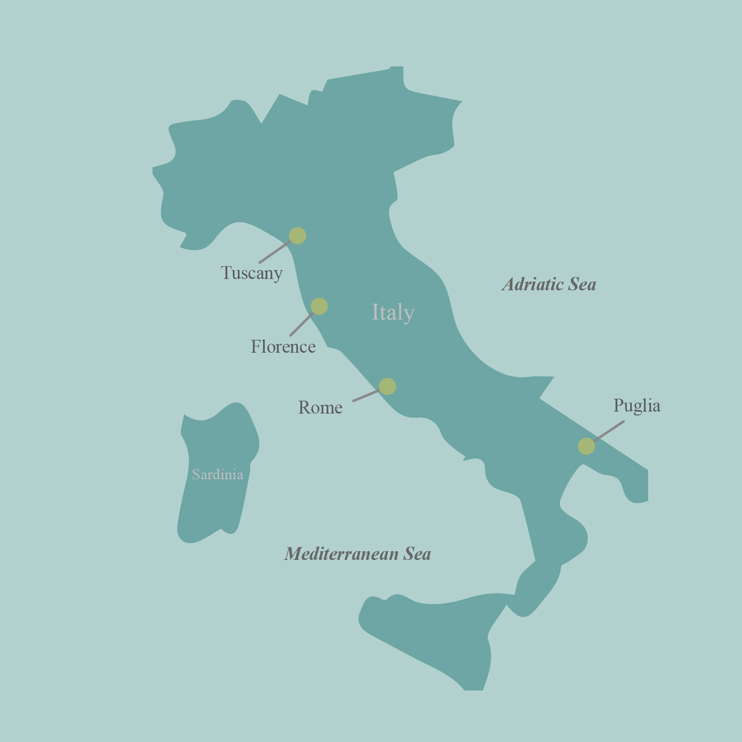 Italy bicycle tour map