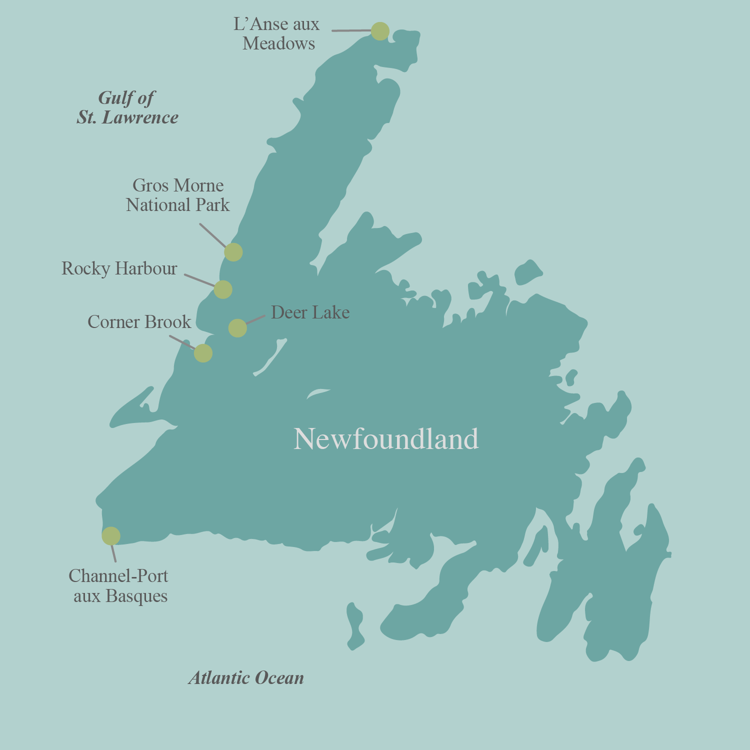 Newfoundland bicycle tour map