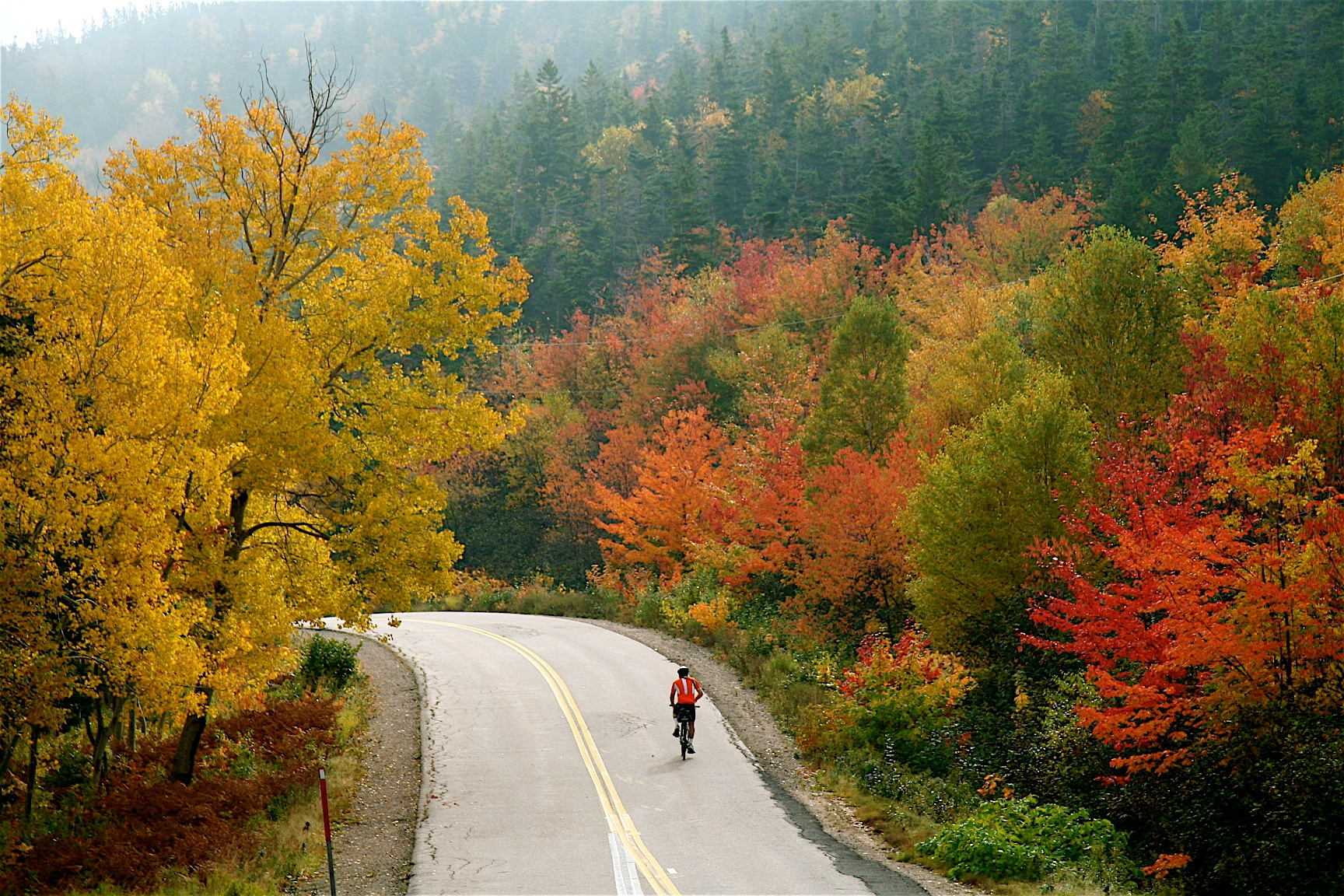 Cabot Trail bike tour fall leaves