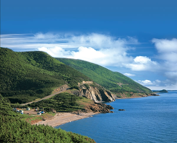 Cabot trail bike tour mountains and ocean view